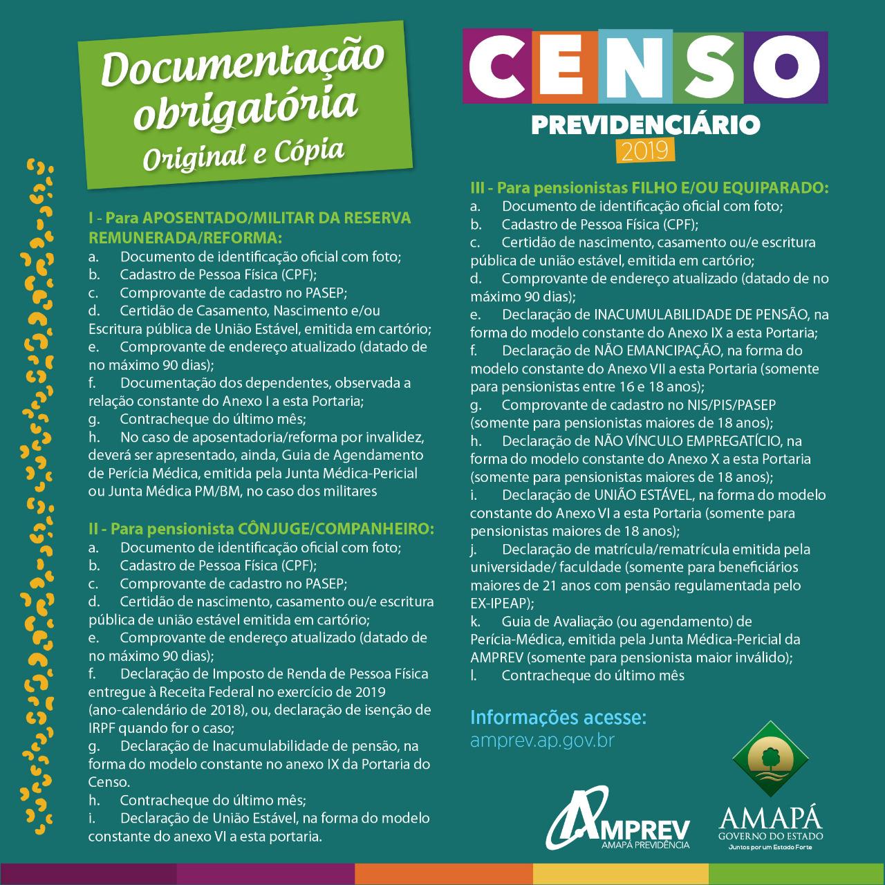 Documentos para o Censo 2019